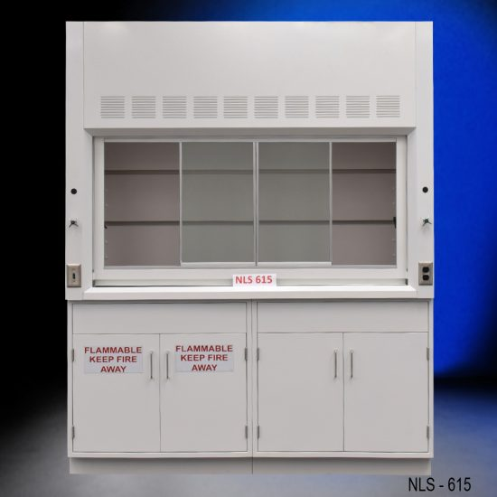 Front view of 6' Fisher American Fume Hood with one flammable cabinet and one general storage cabinet