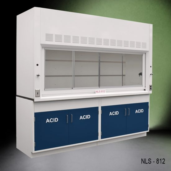 Angled view of 8' Fisher American Fume Hood with two acid cabinets