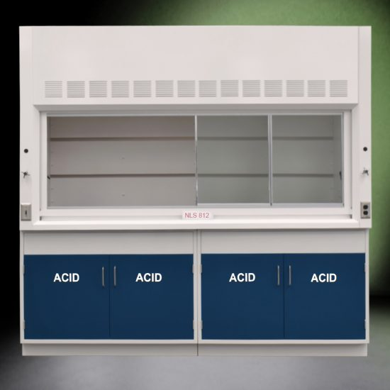 Front view of 8' Fisher American Fume Hood with two acid cabinets