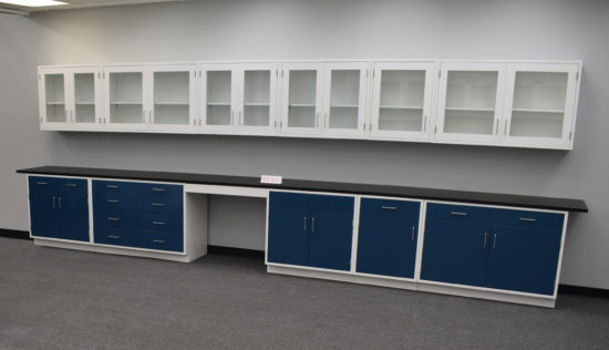 Used blue laboratory cabinets from National Laboratory Sales.