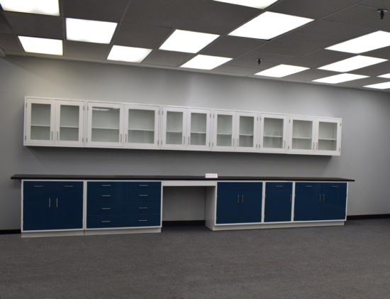 19' Base x 19' Wall Laboratory Cabinets w/ Desks