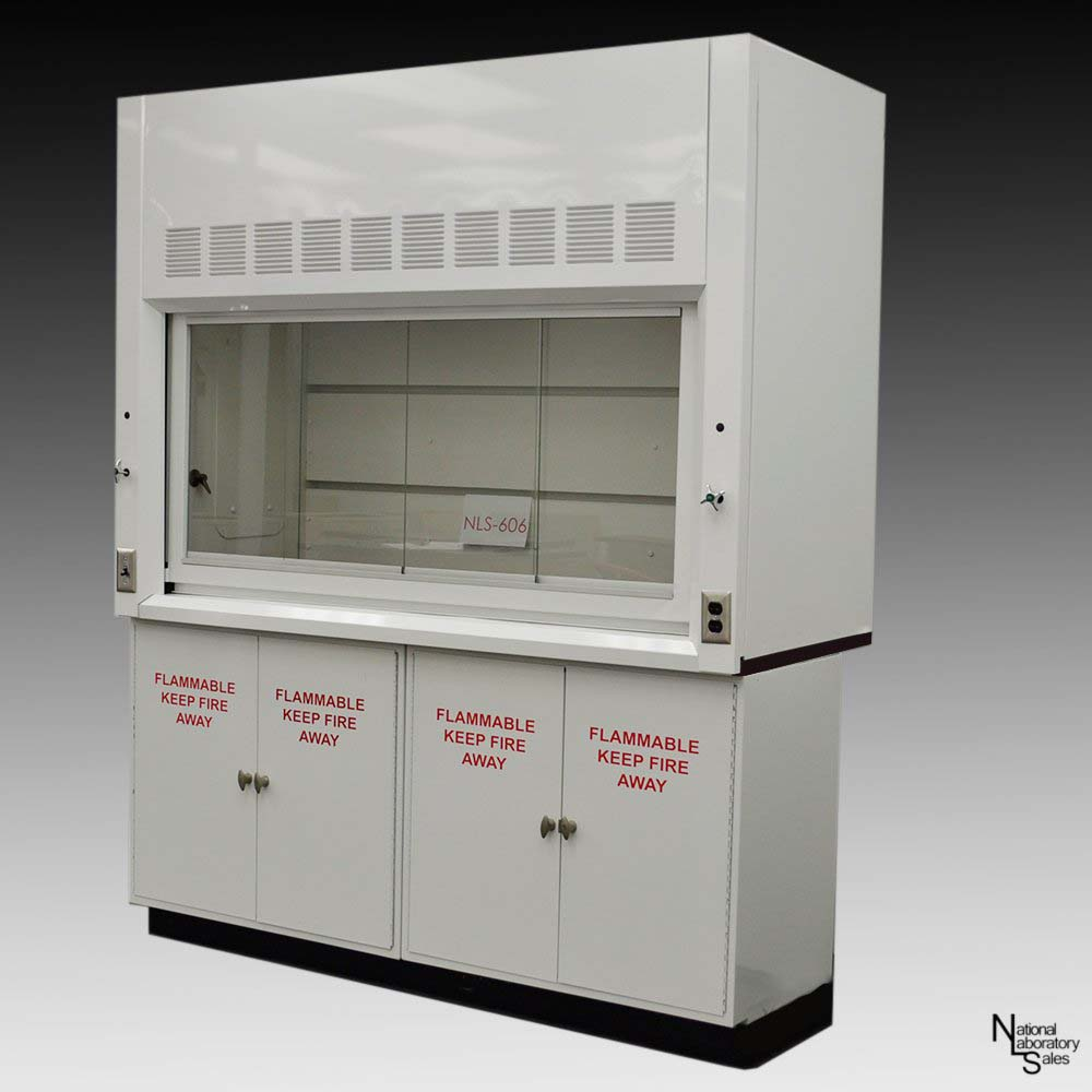 laboratory fume hood with flammable cabinets