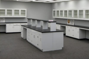 Laboratory Cabinets with center shelf and island.