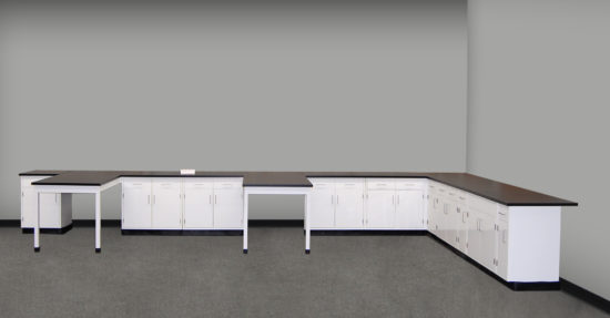 23' x 12' Laboratory Cabinets w/ Two Peninsulas