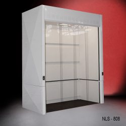 Angled front view of Fisher American 8' Walk-In Fume Hood