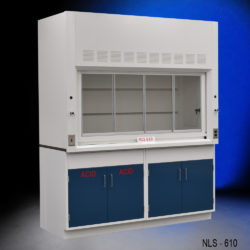 6' Fisher American Fume Hood w/ General & Acid Storage Cabinets (NLS-610)
