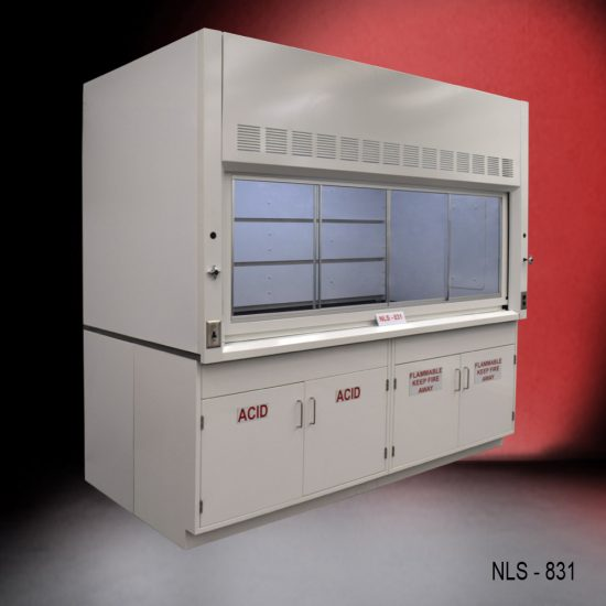 White fume hood with two flammable cabinets and two acid storage cabinets.