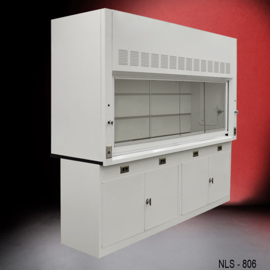 8' Fisher American Fume Hood w/ General Storage Cabinets (NLS-806)