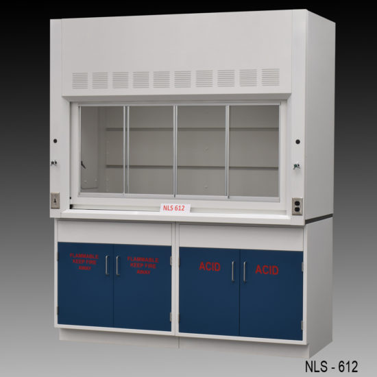 6' Fisher American Laboratory Fume Hood w/ Flammable & Acid Storage Cabinets (NLS-612)