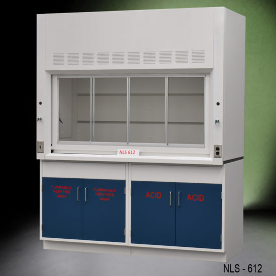 6' Fisher American Fume Hood w/ Flammable & Acid Cabinets (NLS-612)