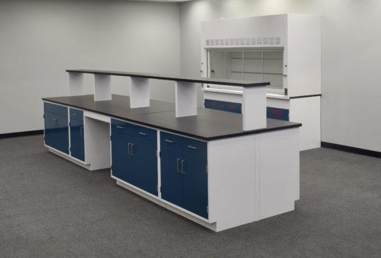 Laboratory island with desk area.