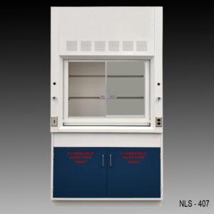 6 foot fume hood with blue cabinets.