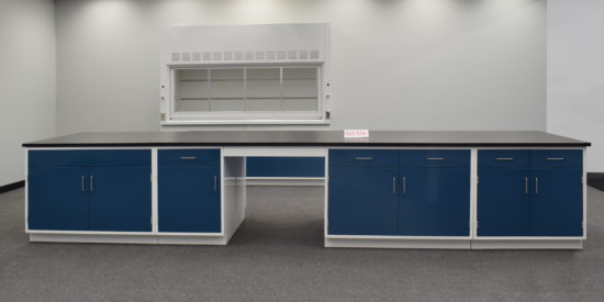 Laboratory island with desk area.