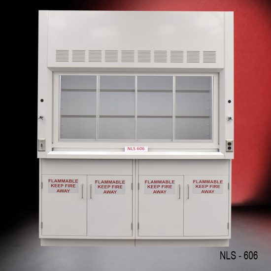 Front view of a 6 Foot Fisher American Fume Hood with two flammable cabinets. Sash is closed.