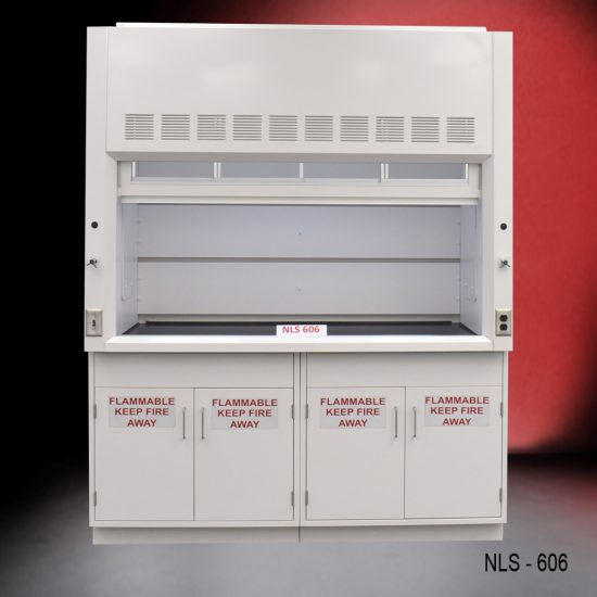 Front view of a 6 Foot Fisher American Fume Hood with two flammable cabinets. Sash is open