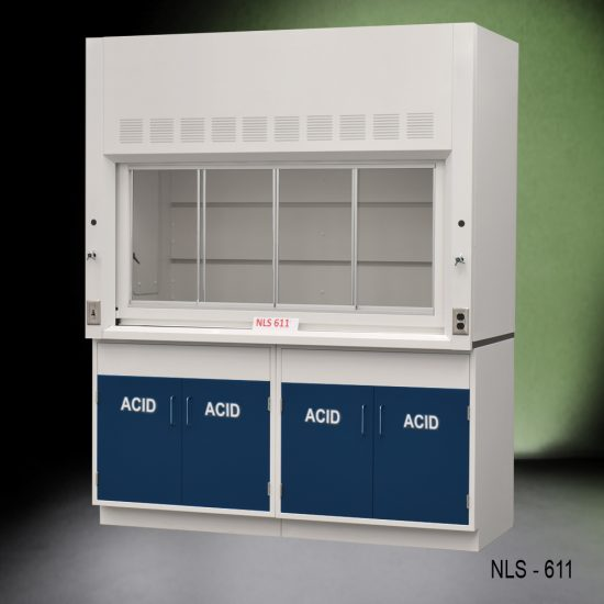 Angled view of Fisher American 6 Foot Fume Hood with blue acid cabinets