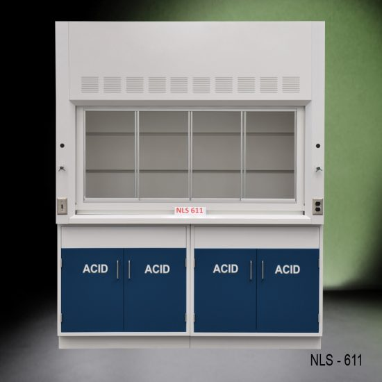 Front view of Fisher American 6 Foot Fume Hood with blue acid cabinets