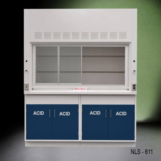 Front view of Fisher American 6 Foot Fume Hood with blue acid cabinets.
