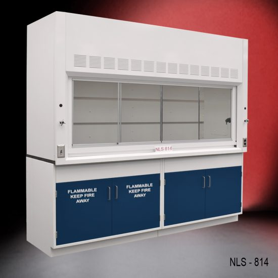 Angled view of Fisher American 8 Foot Fume Hood with flammable and general storage cabinets