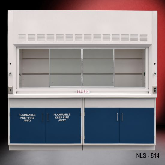 Front view of Fisher American 8 Foot Fume Hood with flammable and general storage cabinets