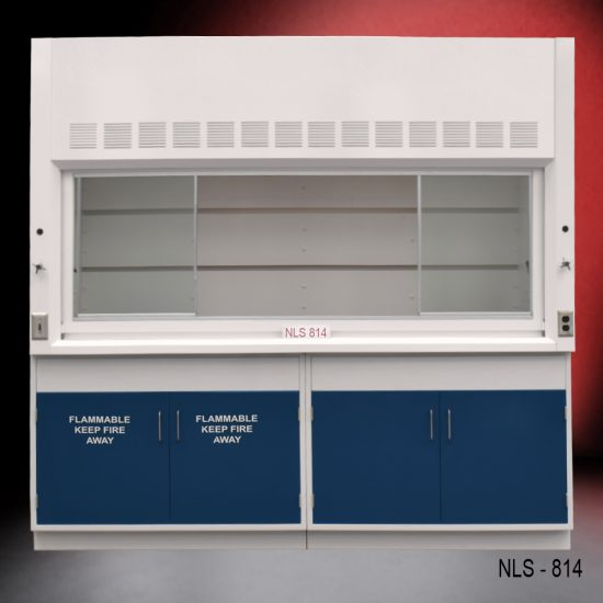Front view of Fisher American 8' Fume Hood with flammable and general storage cabinets