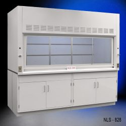Front view of an 8 Foot x 4 Foot Fisher American Fume Hood with two general storage cabinets