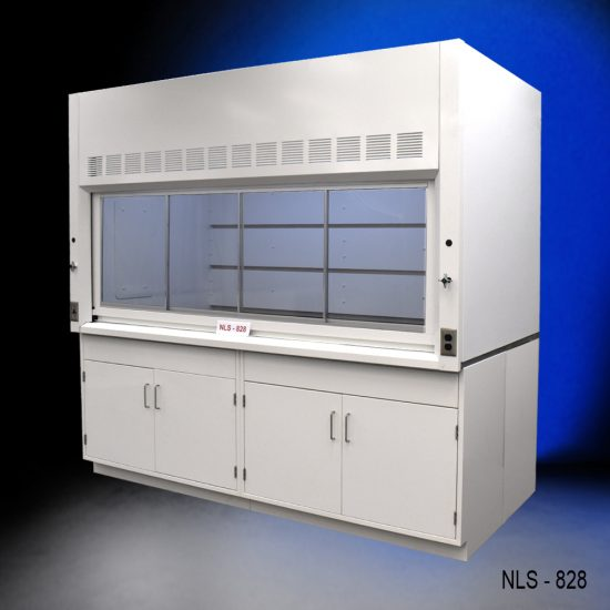 Angled view of an 8 Foot x 4 Foot Fisher American Fume Hood with two general storage cabinets