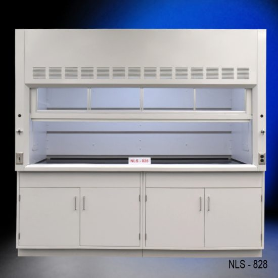 Front view of an 8 Foot x 4 Foot Fisher American Fume Hood with two general storage cabinets. Sash is partially closed.