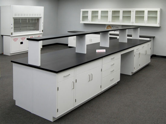 16' x 4' Fisher American Laboratory Island w/ Center Shelf