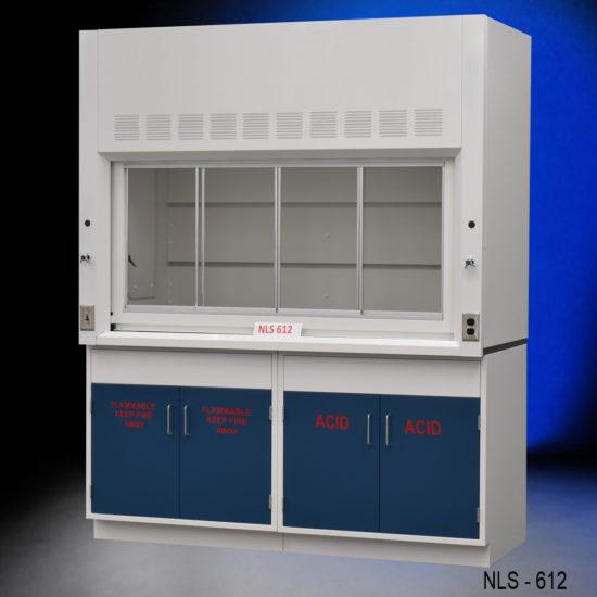6' Fisher American Laboratory Chemical Fume Hood w/ Flammable & Acid Storage Cabinets (NLS-612)