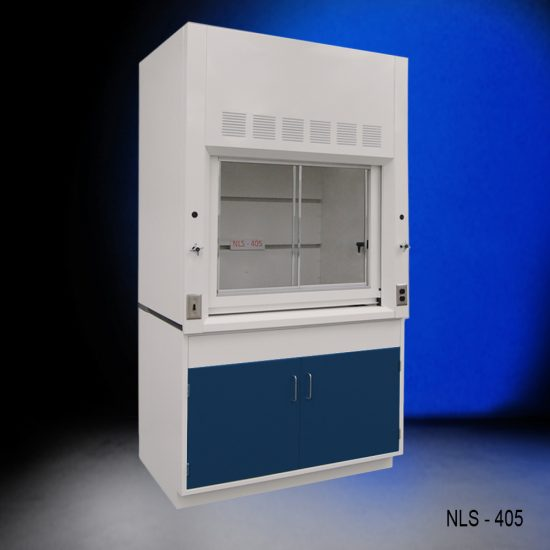 Anlged view of a 4 foot Fisher American fume hood with one general storage cabinet that has blue doors and silver handles.