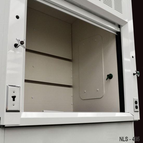 Fume hood with combination sash and storage cabinets.