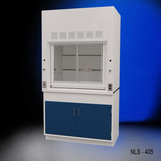 Front view of a 4 foot Fisher American fume hood with one general storage cabinet that has blue doors and silver handles.
