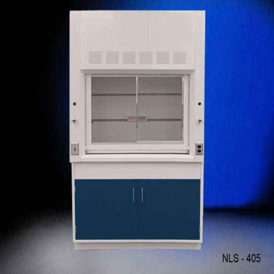 Front view of a 4 foot Fisher American fume hood that has one gas valve and general storage cabinet.