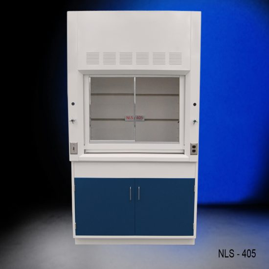 Front view of a 4 foot Fisher American fume hood that has a light on/off switch, 1 AC power plug, 1 cold water valve