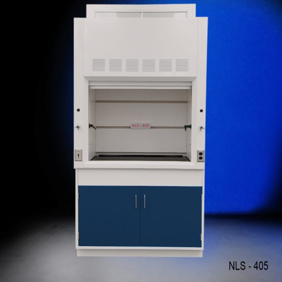Front view of a 4 foot Fisher American fume hood that has a light on/off switch, one AC power plug, one cold water valve