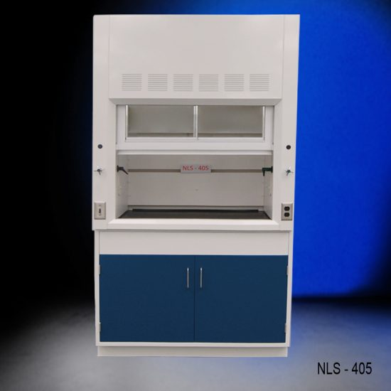 Front view of a 4 foot Fisher American fume hood that has 1 Vertical Sliding Sash Door with 2 horizontal sliding glass windows