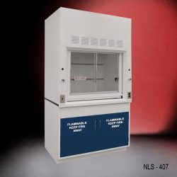 Front view of 4 Foot Fisher American Fume Hood with two flammable storage cabinets