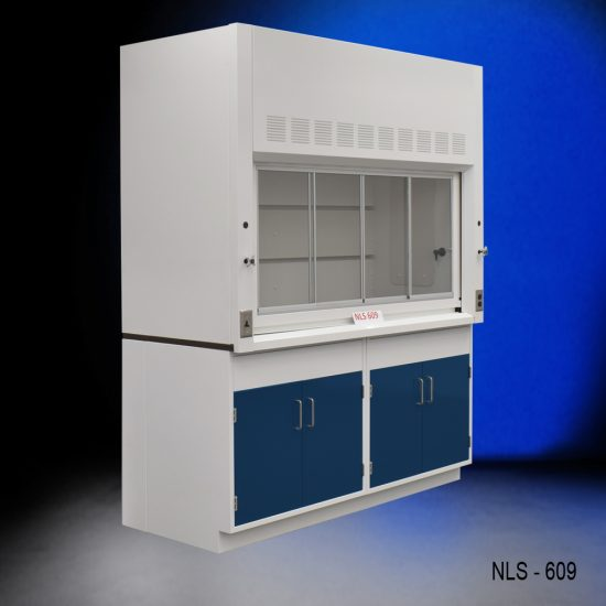 Angled view of a 6 foot x 4 foot Fisher American fume hood with two general storage cabinets that have blue doors and silver handles.