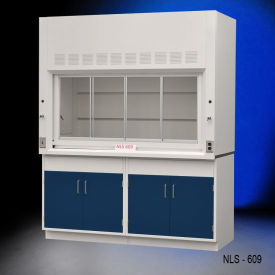 Front view of a 6 foot x 4 foot Fisher American fume hood with two general storage cabinets that have blue doors and silver handles.