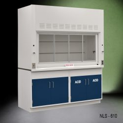 Angled view of 6 Foot Fisher American Fume Hood with one acid cabinet and one general storage cabinet