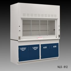 Front view of a 6 Foot Fisher American Fume Hood with one flammable storage cabinet and one acid cabinet