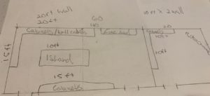 Sketch of Laboratory for Laboratory Fume Hood and Cabinet placement.