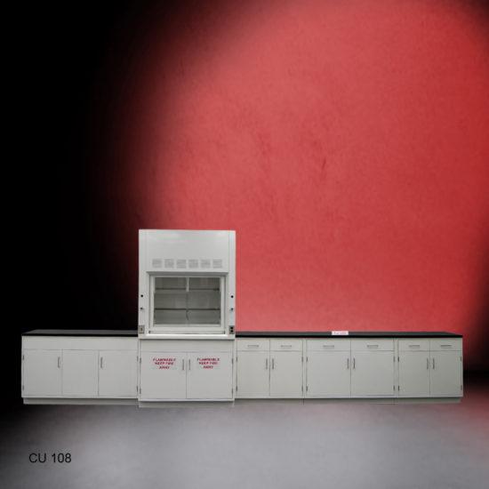 4' Fisher American Fume Hood w/ Flammable Storage & 15' Laboratory Cabinet Group (CU-108)