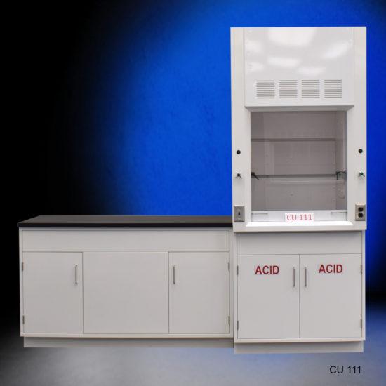 3' Fisher American Fume Hood w/ ACID Storage & 5' Laboratory Cabinet Group (CU-111)