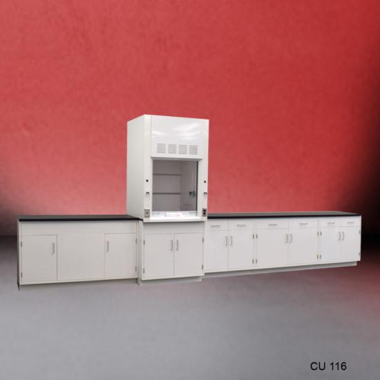 3' Fisher American Fume Hood w/ General Storage & 15' Laboratory Cabinet Group (CU-116)