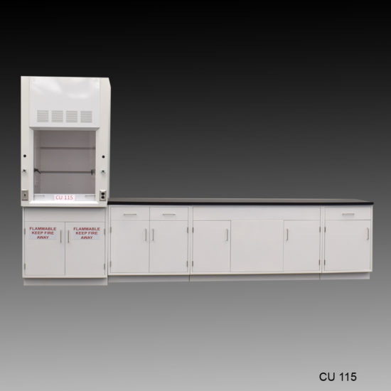 3' Fisher American Fume Hood w/ Flammable Storage & 10' Laboratory Cabinet Group (CU-115)
