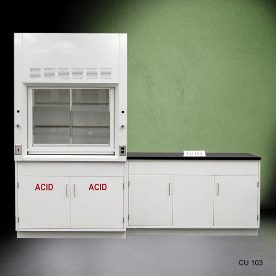 4' Fisher American Fume Hood with ACID Storage & 5' Laboratory Cabinet Group (CU-103)