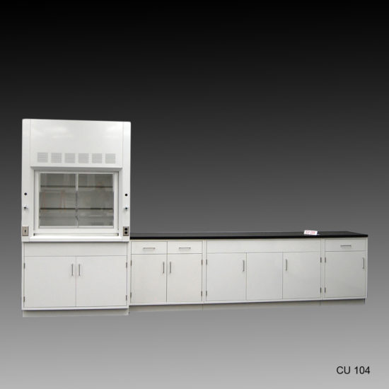 4' Fisher American Fume Hood w/ General Storage & 10' Laboratory Cabinet Group (CU-104)