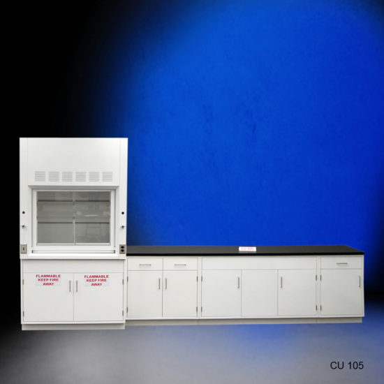 4' Fisher American Fume Hood w/ Flammable Storage & 10' Laboratory Cabinet Group (CU-105)